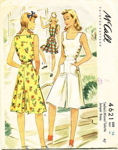 Vintage 1940s Playsuit Pattern McCall 4621