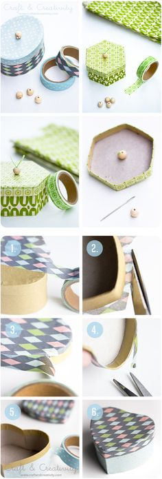 Revamp old or cheap paper boxes by decorating them with washi tape http://craftandcreativity.com/blog/2012/11/02/washitapeboxes/