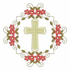 Wind Bell Embroidery Embroidery Design: Religious Cross 3.64 inches H x 3.64 inches W