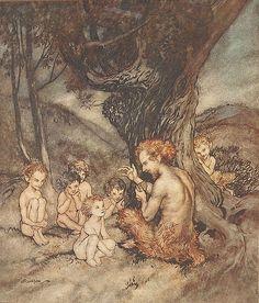 "Satyre (Arthur Rackham) illustration from ""The Springtide of Life"" by Algernon Charles Swinburne Arthur Rackham, Children's Book Illustration, Illustrations, Ecole Art, Fairytale Art, Mythical Creatures, Architecture Art, Fantasy Art, Fairy Tales"