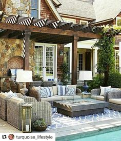 How are you prepping your outdoor home this spring? We love this getaway that soaks up the sun and moonlight while entertaining. What do you love? Thanks @thearmanihouse via @turquoise_lifestyle #outdoor #home #ideas #entertaining