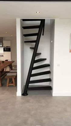 video I stairs by EeStairs I black staircase I Saving space, any RAL colour staircase design, EeStairs is renowned for bespoke design, but did you know that we have a compact standard staircase available for limited space locations? Staircase Design Modern, Home Stairs Design, Interior Stairs, Home Room Design, Small House Design, Home Interior Design, Stair Design, Loft Design, Outside Stairs Design