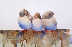 Baby Birds Watercolor Painting - 8 x 10 Archival Print, Cottage Chic, Home, Shabby Chic Decor, Blue, Beige & Brown Bird Art, Baby's Room Art