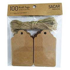 Pack of 100 Brown Kraft Tags with 10 Meters of Jute Twine - For Use As Gift Tags, Wedding Favor Tags, Product Label / Price Tags or for Scrapbooking and Various Arts & Crafts and Homemade Projects By Sacar Stationery Diy And Crafts, Arts And Crafts, Paper Crafts, Handmade Tags, Wedding Favor Tags, Jute Twine, Product Label, Craft Sale, Hang Tags