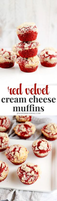 Red Velvet Cream Cheese Muffins - Soft and fluffy red velvet muffins made with a swirl of cream cheese in the batter and crispy, crumbly butter topping.