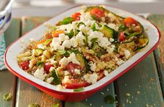 If you're planning a BBQ you have to make this courgette, couscous and feta salad as a side dish! Dressed  with mint and basil, it's the perfect accompaniment to grilled kebabs.