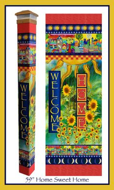 """A Sign of Peace garden poles are a creative and unique way to bring beautiful artwork to any landscape. Lightweight and strong vinyl is long lasting and maintenance free. Easy to install. No digging required. Designed and made in Wisconsin.  Our stunning Home Sweet Home pole features a sunflower garden and colorful and picturesque houses. The whimsical design and bright colors will add a bit of magic to your landscape.   5"""" x 5"""" x 64"""". A solar light crown is included with your purchase"""