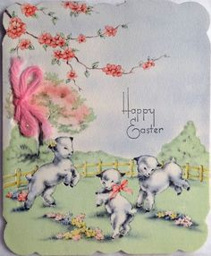 Frolicing Lambs in The Field Vintage Easter Greeting Card Easter Greeting Cards, Vintage Greeting Cards, Vintage Postcards, Easter Art, Easter Bunny, Happy Easter, Easter Egg Designs, Easter Parade, Easter Colors