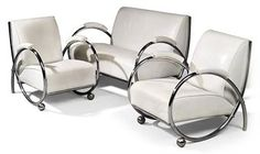 A SPANISH ART DECO STYLE CHROME-PLATED STEEL AND LEATHER UPHOLSTERED THREE-PIECE LOUNGE SUITE