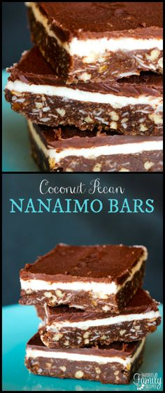 These Coconut Pecan Nanaimo Bars are the richest, creamiest, most SINFUL dessert ever. Try one bite and you are going to LOVE them! via @favfamilyrecipz