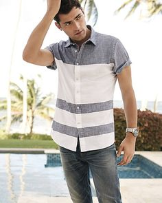 Chambray Stripe Shirt, Jeans and Watch | Express