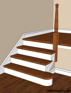 Living room Scribing Skirt Boards Thisiscarpentry House Stairs Skirting Preventing Water Damage in t Stairs Skirting, Stairs Trim, Wood Stairs, House Stairs, Skirting Boards, Baseboard Trim, Baseboards, Stair Skirt Board, Black And White Stairs