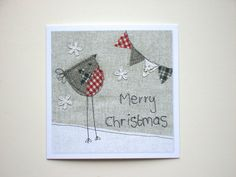 Bird Christmas card Christmas card bird greeting by AlisonWhateley Freehand Machine Embroidery, Free Motion Embroidery, Fabric Cards, Fabric Postcards, Christmas Sewing Projects, Christmas Crafts, Christmas Cards To Make, Handmade Christmas, Envelopes