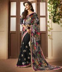 Black Color Satin Party Wear Sarees :  Avishka Collection  YF-43045