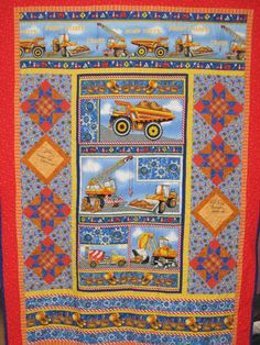 Hard Hats Panel Quilt with Mike Rowe and Dave Barsky autographs - 2011.  Donated to Project Linus.