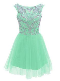 Short Mint Prom Dresses 2015 New Style A Line Silver Beads Spakle Tulle Homecoming Dress For Teens - Thumbnail 1 Mint Prom Dresses, Dama Dresses, Prom Dresses 2015, Grad Dresses, Dresses For Teens, Evening Dresses, Formal Dresses, Dress Prom, Backless Dresses