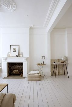 white wooden floors / mantel fireplace / details / decor / scandinavian rustic vintage / decorating before and after house design room design White Rooms, White Walls, White Bedroom, White Wooden Floor, Interior Architecture, Interior Design, Brick Interior, Wooden Flooring, Industrial Flooring