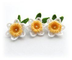 Crochet Applique Daffodil Flowers Crochet by CraftsbySigita,