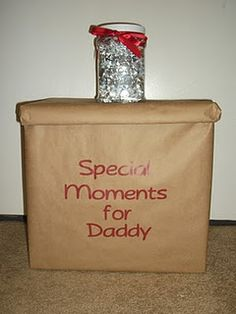 Deployment Gifts - love the box for the kids to fill with their momentos to shar. - Deployment Gifts – love the box for the kids to fill with their momentos to share with Dad when h - Deployment Gifts, Deployment Care Packages, Military Deployment, Military Spouse, Deployment Countdown, Military Homecoming, Military Love, Army Love, Just In Case