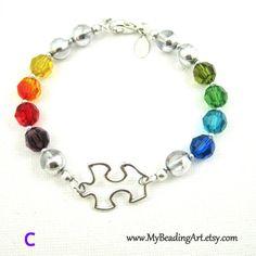 Autism Awareness 550 Paracord Bracelet Puzzle Piece Charm-Fait main