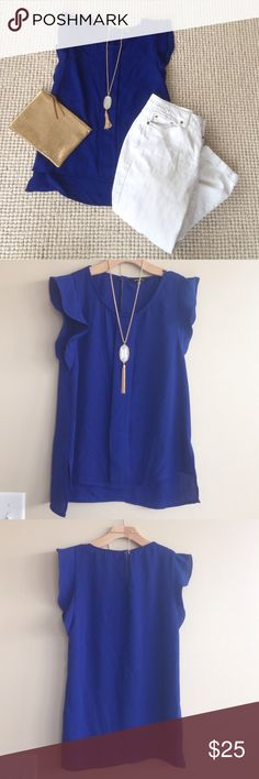 NWOT! Stitch Fix 41Hawthorn Cobalt Flutter Sleeve NWOT! Stitch Fix 41Hawthorn Cobalt Blue Flutter sleeve top. Small. Tuck into a skirt or wear with white pants! Endless possibilities! 41hawthorn Tops Tank Tops