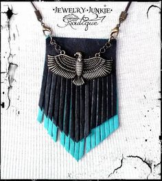 Black and Turquoise Leather Fringe by JewelryJunkiBoutique on Etsy