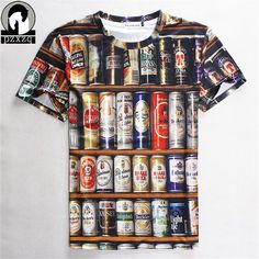 Fashion Hot Sales 2017 Hip hop T shirt Men 3D Stacked Beer Bottles Cans funny tee shirt,Brand design men clothing Free Shipping