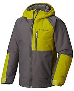Boys' Snow Problem™ Jacket Columbia Sportswear, Outdoor Outfit, Motorcycle Jacket, Boys, Snow, Jackets, Python, Clothes, Green