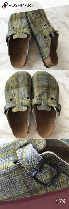 Birkenstock Birki's Green Plaid Clogs Size 7 Birkenstocks are back so now's your chance to get a pair! These clogs are perfect for fall and will last for years to come. Made in Germany, these shoes are a classic for a reason. From a smoke free home, in excellent used condition. Check out the rest of my closet to create your own custom bundle. These are a Euro size 38.5, US Size 7. Poshmark doesn't use the correct conversion for Euro sizes so please note the correct size is US size 7…