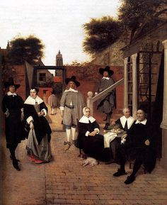 Portrait of a Family in a Courtyard in Delft - Hooch, Pieter De (Dutch, 1629 - Fine Art Reproductions, Oil Painting Reproductions - Art for Sale at Bohemain Fine Art Pieter De Hooch, Potrait Painting, Johannes Vermeer, Dutch Golden Age, Baroque Art, Dutch Painters, European Paintings, Dutch Artists, Oil Painting Reproductions