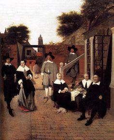 Portrait d'une famille dans une cour à Delft - Pieter de Hooch
