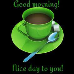 GM Coffee Gif, Happy Coffee, Coffee Break, Morning Coffee, National Calendar, Green Coffee Mugs, Fb Quote, Baby Dedication, Lucky Colour