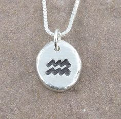 Aquarius Necklace,Organic Rustic Recycled Sterling Silver Zodiac Jewelry/FREE SHIPPING