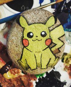 Pikachu painted pebble ♥♡