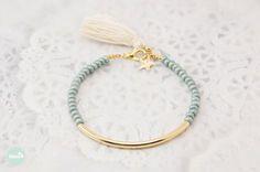 Gold-Rohr Armband Perlen Armband Perlen Quaste von Haneelove