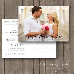Printable Save the Date Postcard - the Chloe Collection by HowLovelyPaper on Etsy https://www.etsy.com/listing/165686426/printable-save-the-date-postcard-the