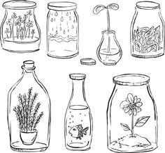 Plant inside bottle royalty-free plant inside bottle stock vector art & more images of beauty Doodle Drawings, Doodle Art, Easy Drawings, Drawing Sketches, Bottle Drawing, Botanical Line Drawing, Jar Art, Image Blog, Plant Drawing
