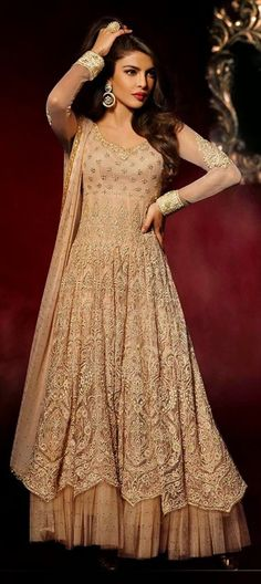 425501, Anarkali Suits, Bollywood Salwar Kameez, Net, Zari, Thread, Lace, Machine Embroidery, Beige and Brown Color Family