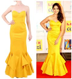 BUY THIS OUTFIT: Yami Gautam looks stunning in this bright yellow strapless mermaid gown by Sonaakshi Raaj. Shop at www.vesimi.com...online portal coming soon. #style #elegance #mermaid #gown #YamiGautam #designer #label #SonaakshiRaaj #celebstyle #musthave #bollyfashion #funshopping #VESIMI