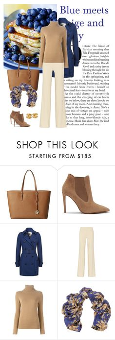 """Blue meets Beige and Ivory"" by dezaval ❤ liked on Polyvore featuring MICHAEL Michael Kors, Ralph Lauren, Burberry, Donna Karan, Chloé, Bindya, Chanel, booties, scarf and ItGirl"