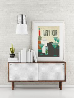 Artist Shanni Welsh's Retro Martini art print. Cocktail Happy Hour.  Midcentury modern bar décor.