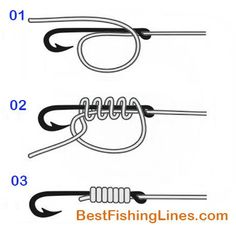 Best fishing knot – How To Tie Fishing Hook To A Line - Best Braided Fishing Line Strongest Fishing Knots, Best Fishing Knot, Fishing Line Knots, Tie Fishing Hook, Fishing Rigs, Snell Knot, Survival Knots, Knots Guide, Rope Knots