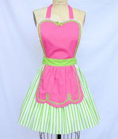 retro apron FIFTIES Diner Waitress .... RETRO lime green pink  womens full apron 50s ice cream parlor hostess shower gift vintage inspired