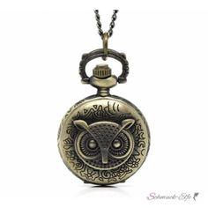 Taschen Uhr EULE mit Kette vintage antik gold