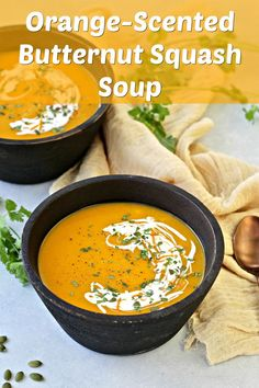 Flu season is here and vitamin C is our ally! Prepare to fight back with my Orange-Scented Butternut Squash Soup, made with Indian River Select orange juice. Healthy Soup, Healthy Recipes, Vegetarian Soup, Vegan Soups, Vegan Dishes, Roasted Radishes, Toasted Pumpkin Seeds, Butternut Squash Soup, Pitta