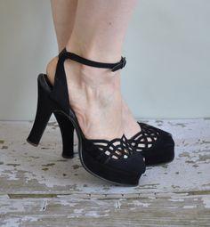 vintage 1940s heels / 40s black platform cuban heels / Take Me Out On The Town