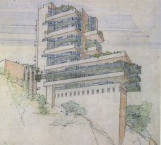Frank Lloyd Wright on Drawing - Part Three / Un-built Work - BeLoose Graphic Workshop Prairie Style Architecture, Organic Architecture, Historical Architecture, Gaudi, Architecture Organique, Falling Water Frank Lloyd Wright, Architecture Drawings, Funny Art, Illustrations