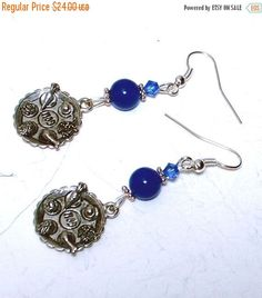 On Sale Passover Seder Plate Earrings  Blue Swarovski @lindab142