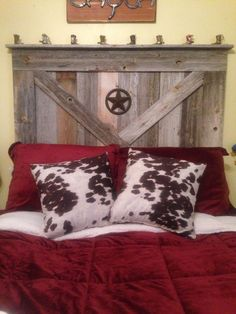 Handmade Rustic Reclaimed Wood Barn Door Style Queen Size Headboard Western #Handmade #Country