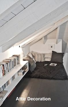 The Best Simple Attic Storage Room Ideas – Loft İdeas 2020 Attic Bedroom Small, Attic Bedroom Designs, Attic Bedrooms, Attic Design, Attic Spaces, Room Ideas Bedroom, Room Decor, Bed Room, Open Spaces